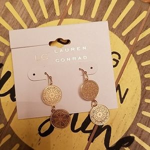 Gold disc dangle earrings